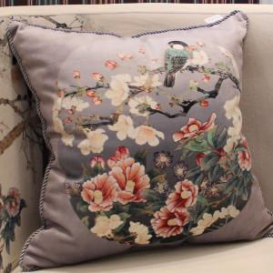 "Gray Purple Bird Round Printing Pillow 18""X18"" - Gentille Home Collection - 1"