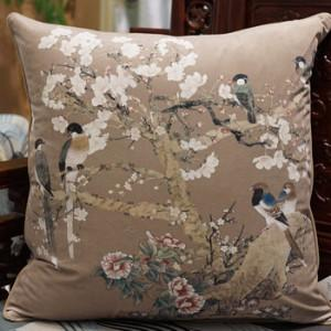 "Brown Bird Printing Pillow 20""X20"" - Gentille Home Collection - 1"