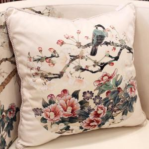 "White Bird Round Printing Pillow 18""X18"" - Gentille Home Collection - 1"