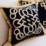 Blue Louvre Pillow Embellished With Trim 20