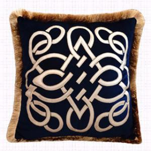 "Blue Louvre Pillow Embellished With Trim 20""X20"" - G Home Collection"
