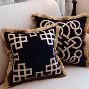 "Blue Triomphe Pillow Embellished With Trim 20""X20"" - G Home Collection"