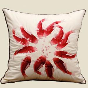 "Red Fish Embroidered Pillow 18""X18"""