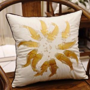 "Yellow Fish Embroidered Pillow 18""X18"" - Gentille Home Collection - 1"