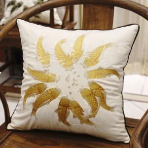 "Yellow Fish Embroidered Pillow 18""X18"""