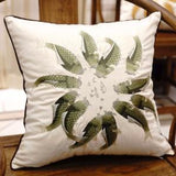 Green Fish Embroidered Pillow 18