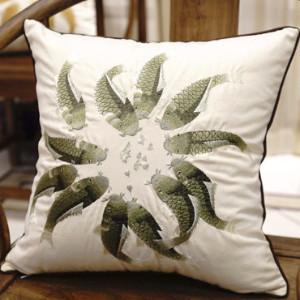 "Green Fish Embroidered Pillow 18""X18"" - Gentille Home Collection - 1"