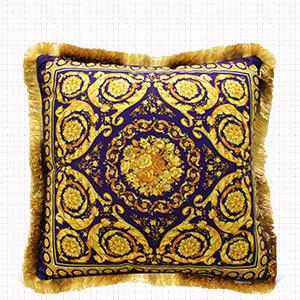 "Gold Blue Flower Pillow Embellished With Trim 20""X20"" - G Home Collection"