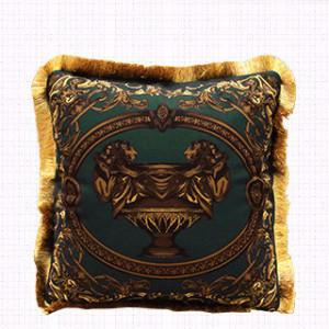 "Dark Green Relief Pillow Embellished With Trim 20""X20"" - G Home Collection"
