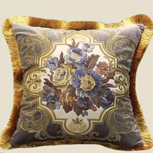 "Gray Blue Float Flower Pillow Embellished With Trim 20""X20"" - G Home Collection"