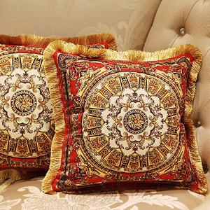 "Tangerine Gold Flower Pillow Embellished With Trim 20""X20"" - G Home Collection"