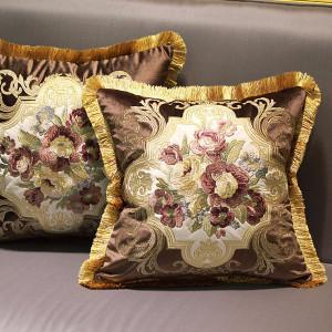 "Brown Float Flower Pillow Embellished With Trim  20""X20"" - G Home Collection"