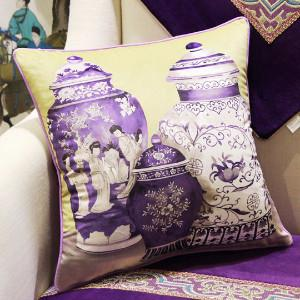 "Purple Three Vase Printing Pillow 18""X18"" - Gentille Home Collection - 1"
