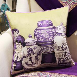 "Purple Four Vase Printing Pillow 18""X18"" - Gentille Home Collection - 1"
