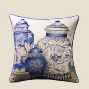 "Blue Three Vase Printing Pillow 18""X18"" - Gentille Home Collection - 1"