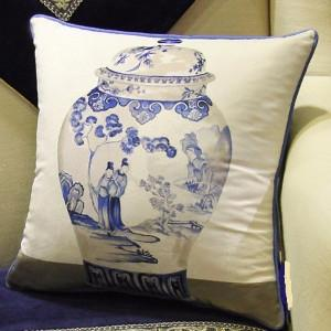 "Blue One Vase Printing Pillow 18""X18"" - Gentille Home Collection - 1"