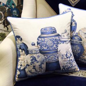 "Blue Four Vase Printing Pillow 18""X18"" - Gentille Home Collection - 1"