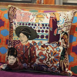 "Asian Ethnic Costume Colorful Beige Pillow 18""X18"""