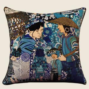 "Asian Ethnic Costume Colorful Blue Pillow 18""X18"""