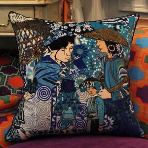 "Asian Ethnic Costume Colorful Blue Pillow 18""X18"" - Gentille Home Collection - 1"