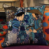 Asian Ethnic Costume Colorful Blue Pillow 18