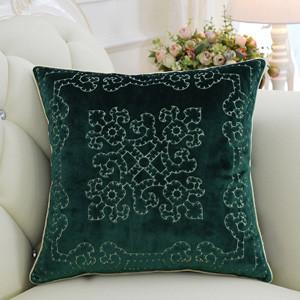 "Green Embroidered Floral Pillow 20""X20"" - G Home Collection"