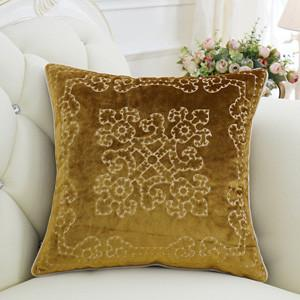 "Yellow Embroidered Floral Pillow 20""X20"" - G Home Collection"