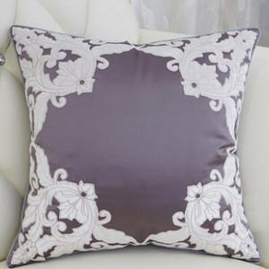 "Purple Detailed Floral Pillow 20""X20"" - G Home Collection"