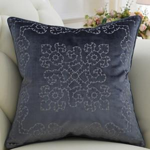 "Purple Blue Embroidered Floral Pillow 20""X20"" - G Home Collection"