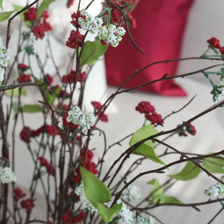 "Artificial Osmanthus Branch in Red and White 38"" Tall"