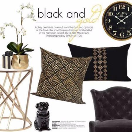 "Black And Gold Geometry Pattern Embroidered Pillow 14""X22"" - G Home Collection"