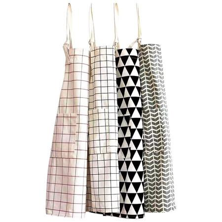 Grid Triangle and Geometry Wave Pattern Apron (Set of 2) - G Home Collection