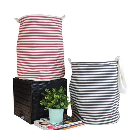 Black and Red Line Fabric Laundry Basket with Handles (Set of 2)
