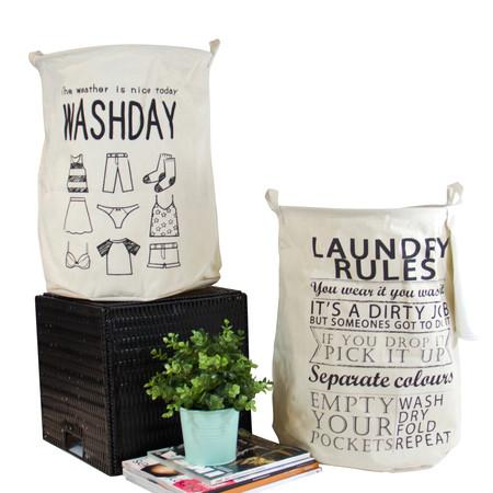 Washday and Laundry Rules Fabric Laundry Basket with Handles (Set of 2)