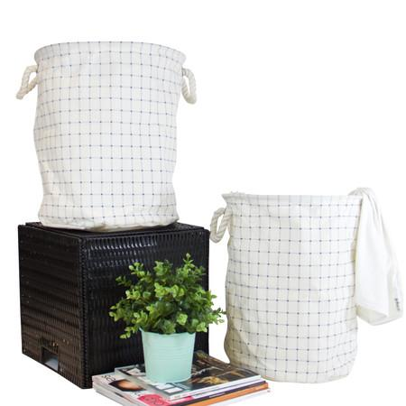 Blue Grid Pattern Fabric Laundry Basket With Handles (Set of 2)