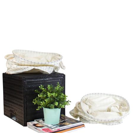 Blue Grid Pattern Fabric Laundry Basket With Handles (Set of 2) - G Home Collection