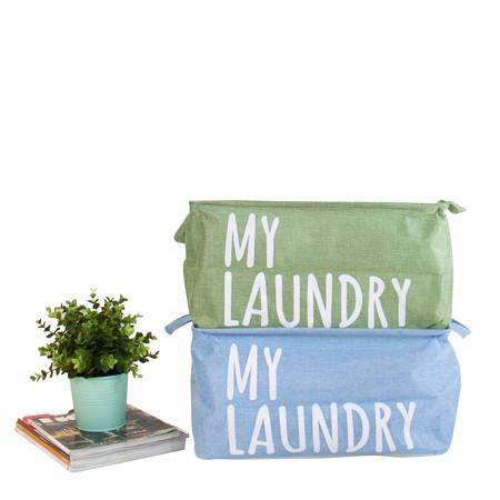 Drawstring Top My Laundry Basket with Handles in Light Green and Blue (Set of 2)