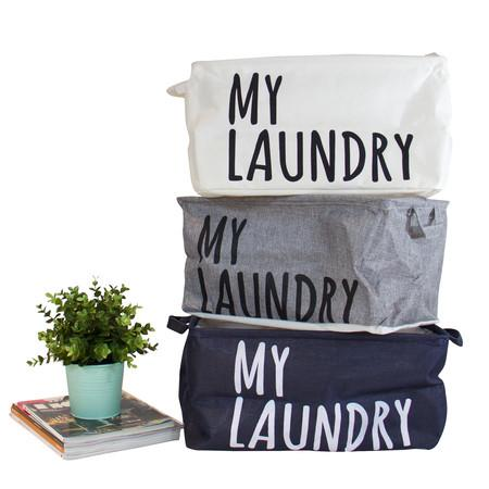 Drawstring Top My Laundry Basket with Handles in Blue Gray and White (Set of 3) - G Home Collection
