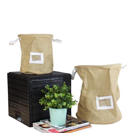 Drawstring Top Linen Storage Basket with Handles and Label Window (Set of 2) - G Home Collection