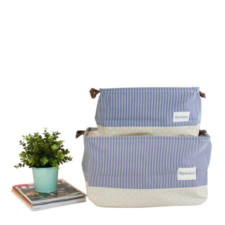 Drawstring Top Blue Linen Storage Box with Handles (Set of 2) - G Home Collection
