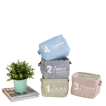 Four Color Small Size Fabric Organizer Box with Handles (Set of 4) - G Home Collection