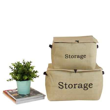 Closing Lid Linen Storage Box With Handles (Set Of 2)
