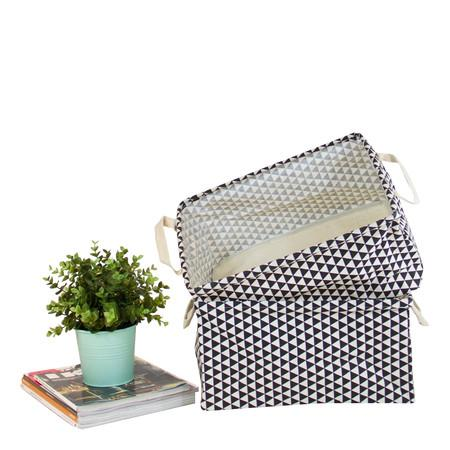 Black Triangle Pattern Fabric Storage Box with Handles (Set of 2)
