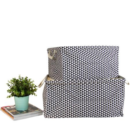 Large Black Triangle Pattern Drawstring Top Fabric Storage Box with Handles Rectangular (Set of 2) - G Home Collection