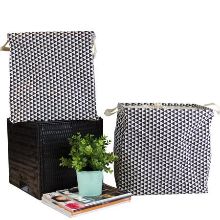 Black Triangle Pattern Drawstring Top Fabric Storage Box with Handles Cube (Set of 2)