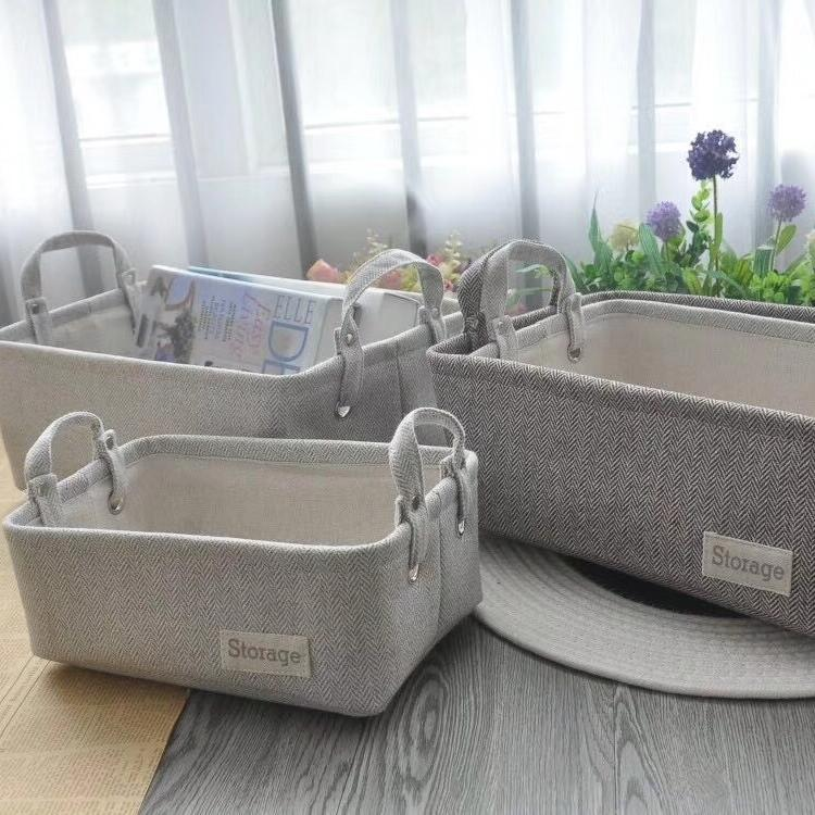 Light Gray Storage Set with Handles (Set of 3) - G Home Collection