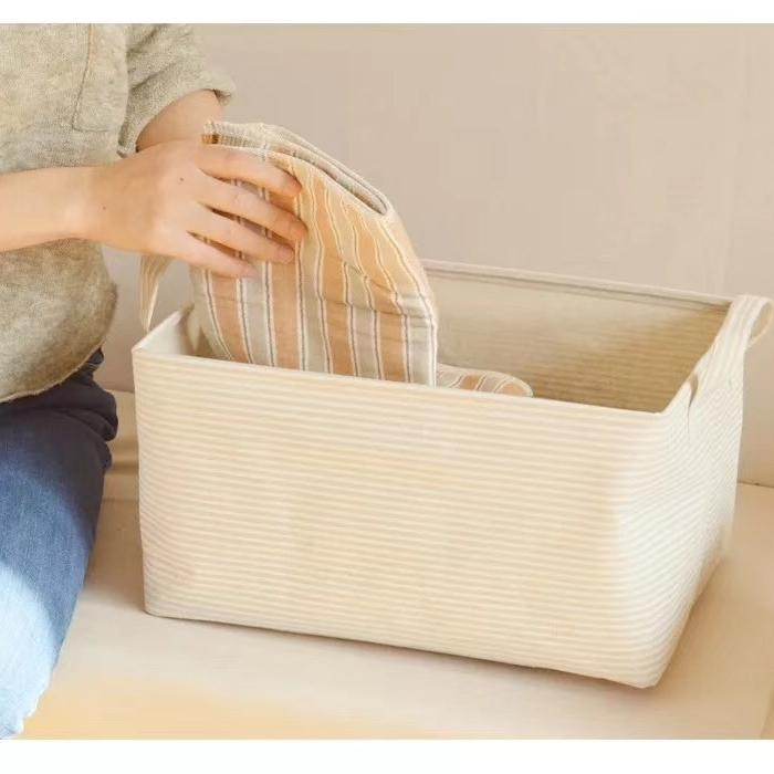 Light Beige White Line Pattern Storage Basket (Set of 2) - G Home Collection
