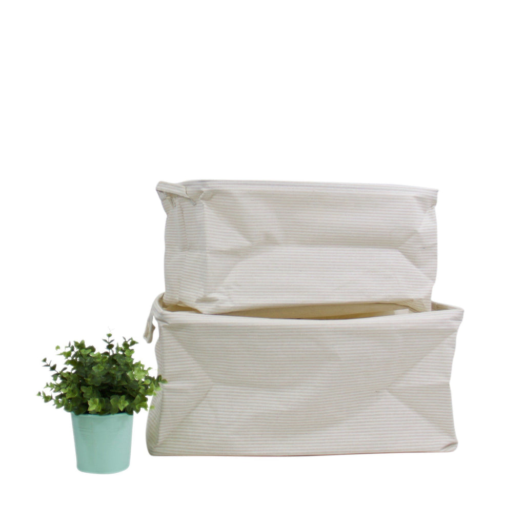 Light Beige White Line Pattern Drawstring Top Rectangular Storage Basket (Set of 2) - G Home Collection