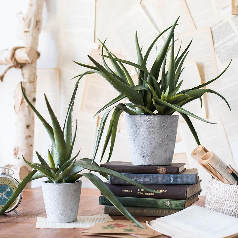 Rustic Artificial Aloe Vera Potted Plant - G Home Collection