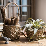 Rustic Handmade Hemp Basket with Handles Randomly Picked Set of 3 - G Home Collection